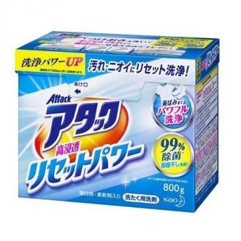 Высокоэффективный стиральный порошок КAO Attack Power с антибактериальным эффектом и цветочным ароматом, коробка 800 г